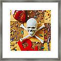 Skull And Bones With Medical Icons Framed Print