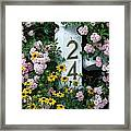 Spring Flowers And Fencepost Framed Print