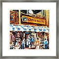 St. Denis And Prince Arthur Montreal Cafe Scene Framed Print