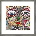 Talavera Feather Owl Drinking Red Wine S Framed Print