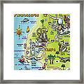 Tampa Florida Cartoon Map Framed Print