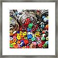 Three Jars Of Buttons Dice And Marbles Framed Print