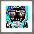 Turquoise Queen Sugar Skull Angel Framed Print