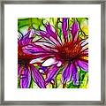 Two Purple Daisy's Fractal Framed Print