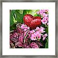 Valentine Heart And Flowers Framed Print