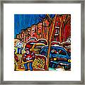 Verdun Rowhouses With Hockey - Paintings Of Verdun Montreal Street Scenes In Winter Framed Print