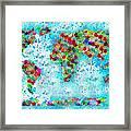 Watercolor Splashes World Map Framed Print