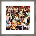 Waving Hi From The Merry-go-round Framed Print
