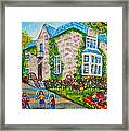 Westmount Birthday Party-montreal Urban Scene-little Girls Playing Framed Print