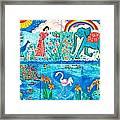 Woman And Blue Elephant Beside The Lake Framed Print