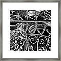 Wrought Iron Gate And Pots Black And White Framed Print