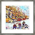 Hockey Game On Colonial Street  Near Roy Montreal City Scene Framed Print