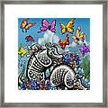 Armadillos Bluebonnets And Butterflies Framed Print