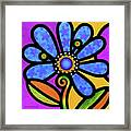 Cosmic Daisy In Blue Framed Print