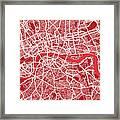 London Map Art Red Framed Print by Michael Tompsett