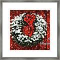 Snowy Christmas Wreath Card Framed Print