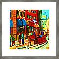 The Red Sled Framed Print