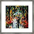 Wedding Under The Rain Framed Print