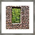 Abandoned Stone Wall With Window Framed Print
