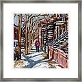 Scenes De Ville De Montreal En Hiver Original Quebec Art For Sale Montreal Street Scene Framed Print