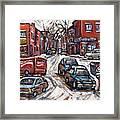 Ville Emard En Peinture Scenes De Ville De Montreal En Hiver Petit Format A Vendre Framed Print