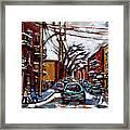 Plateau Mont Royal Scenes De Rue De Montreal En Hiver Rue Napoleon Petit Format A Vendre Framed Print