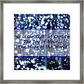 Abstract Of Blue Lights Text Framed Print