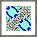 Abstract Seamless Pattern  - Blue Turquoise Green Pink White Framed Print