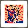 African Bull Elephant Charging Retro Framed Print by Aloysius Patrimonio