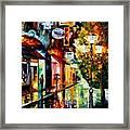 Amsterdam Night Rain Framed Print