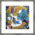 Angel And Blue Bottles Framed Print