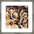 Antique Wagon Wheels And Baskets Framed Print