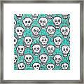 Aqua Skull Pattern Framed Print