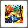 Autumn Calm 2 - Palette Knife Oil Painting On Canvas By Leonid Afremov Framed Print