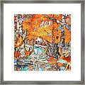 Autumn Deer Birch Background Framed Print