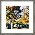 Autumn Street With Yellow House Framed Print