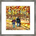 Autumn  Stroll On Mount Royal Framed Print