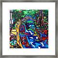 Barges On The Riverwalk Framed Print