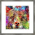 Bear Colored Grunge Framed Print