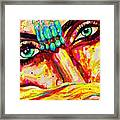 Exotic Desert Eyes Painting, Beneath The Niqab Framed Print