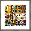 Ben's Famous Smoked Meat Montreal Memories Canadian Paintings Hockey Scenes And Landmarks  C Spandau Framed Print