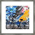Bicycle Against Mural Framed Print