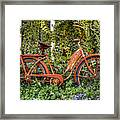 Bicycle In The Garden Framed Print