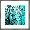 Bicycle In Whimsical Forest Framed Print