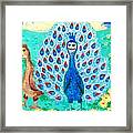 Bird People Peacock King And Peahen Framed Print