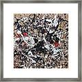Black And White With Red And Gold Framed Print