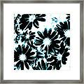 Black Petals With Sprinkles Of Teal Turquoise Framed Print