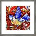 Blue Bird Leaves Framed Print