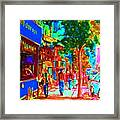 Blue Cafe In Springtime Framed Print