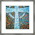 Blue Marbled Cross Framed Print